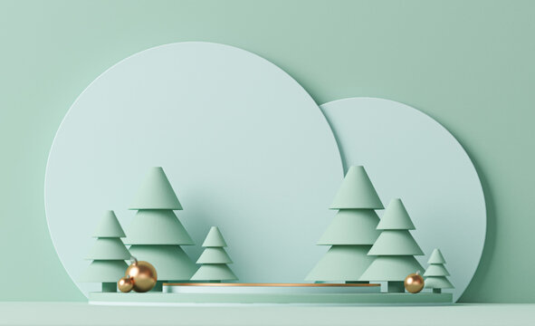 Minimal scene with balls and pine trees, podium. Trendy 3d render for social media banners, promotion, products, stage for christmas holiday winter concept and magazines, poster, banner.