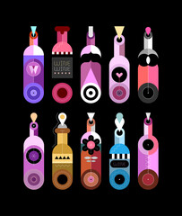 Colored isolated on a black background decorative bottles vector illustration. Set of ten different wine bottles. Each bottle is placed on a separate background.