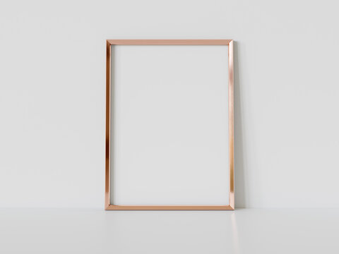 Golden frame leaning on white floor in interior mockup. Template of a picture framed on a wall 3D rendering