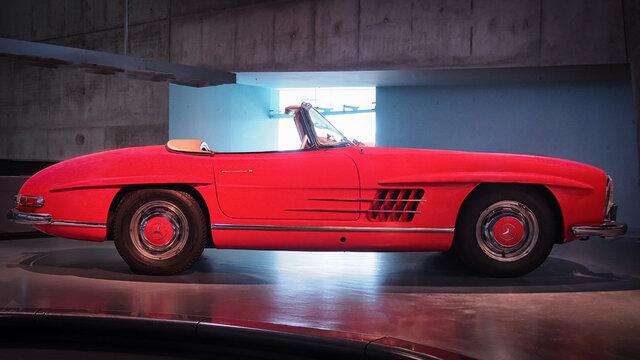 STUTTGART, GERMANY-APRIL 7, 2017: 1962 Mercedes-Benz 300SL Roadster in the Mercedes Museum.