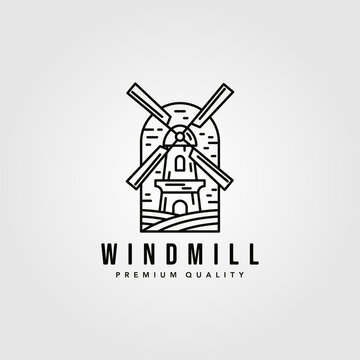 line art windmill logo vector vintage illustration design, farmhouse logo design