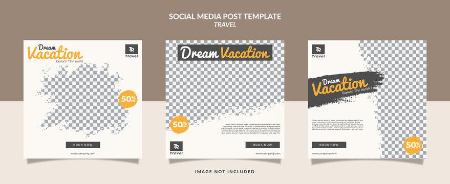 Set of social media travel post template