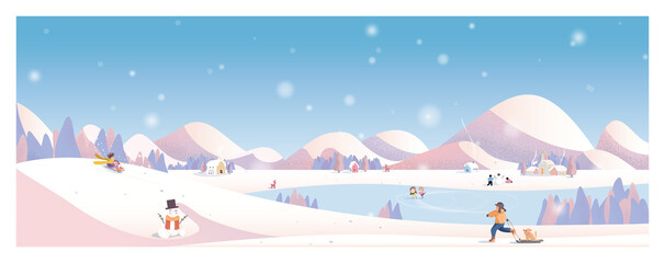 Art & Illustration Vector illustration of winter landscape.Snow with church,rural village.Kids playing outside with sleight and snowman.Concept of winter landscape background.