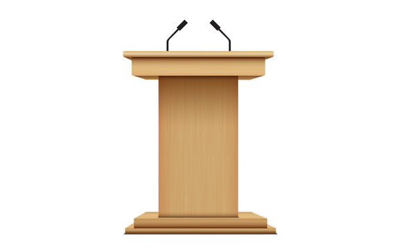 wooden announcement podium and microphone on the white background