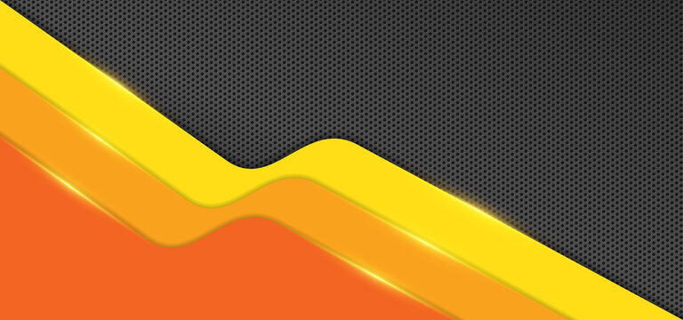 Abstract orange yellow with black carbon fiber texture background. Background with three layers of orange yellow color with gold lines