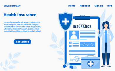 Health insurance medical services landing page, vector illustration. Healthcare, medicine insurance for patients online. Doctors consultation in web, internet technology app.