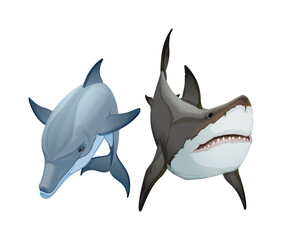 Couple of animals, dolphin and shark. Vector isolated items.