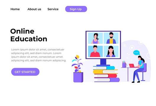 Modern flat design concept Illustration of Online Education Landing page