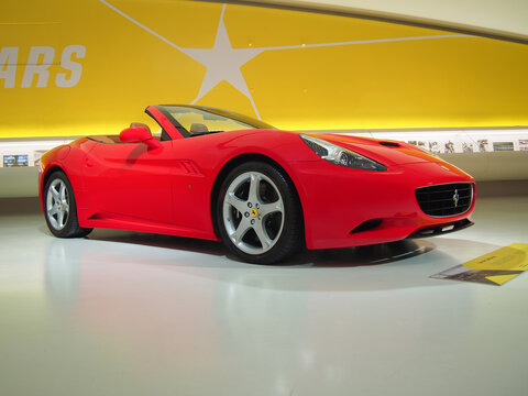 MODENA, ITALY-JULY 21, 2017: Ferrari California in the Enzo Ferrari Museum in Modena, Italy. A California owner is singer Mariah Carey.