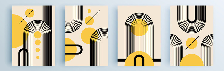 Obraz Modern abstract covers set, minimal covers design. Colorful geometric background, vector illustration. - fototapety do salonu