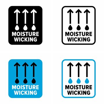 """""""Moisture wicking"""" fabric with evaporating ability, information sign"""