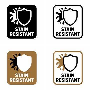 """Mark and """"stain resistant"""" finish for coverings, information sign"""