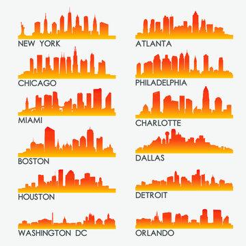 USA Skyline City Silhouette Design Collection. Vector Illustration Set Clip Art.