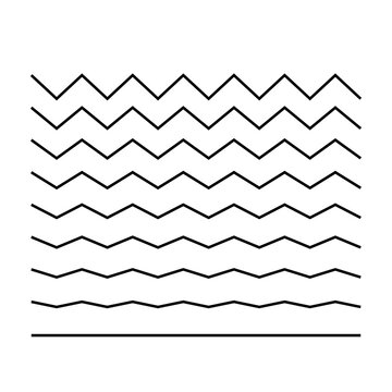 Wave set in abstract style. Vector