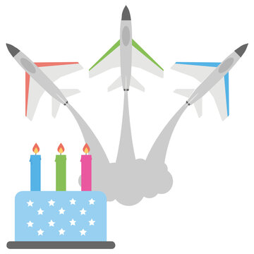 Jets flying in the air depicting air strikes along with a birthday cake is assortmenting the air force birthday celebration of us armed forces