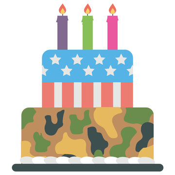 Cake designed in us army colors with candles on the edge is describing an icon designed for army birthday
