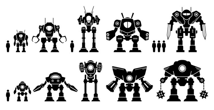 Giant mecha robot or battle bot set collection. Vector icons illustrations of gigantic mechanical machine or big mech robots for war and military. Robot model concept for games and character design.