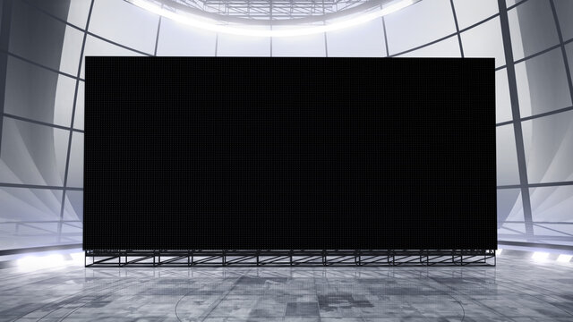 Virtual studio background with a big empty videowall display ideal for tv shows, commercials or events. Suitable on VR tracking system stage sets, with green screen. (3D rendering)