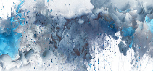 Acrylic splash colors in water. Ink blot. Abstract background. Horizontal long banner.