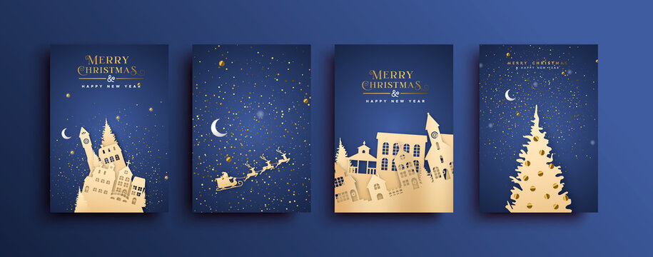 Merry Christmas paper cut city house card set