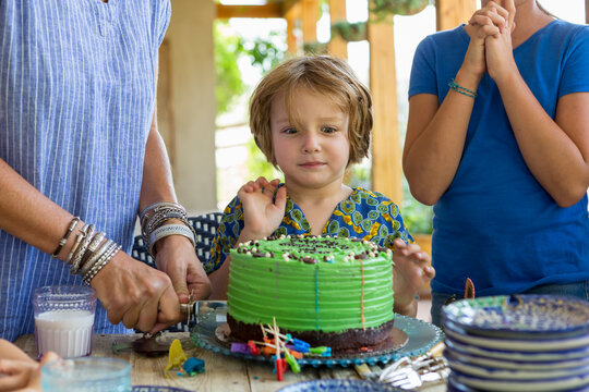 5 year old boy at his birthday party