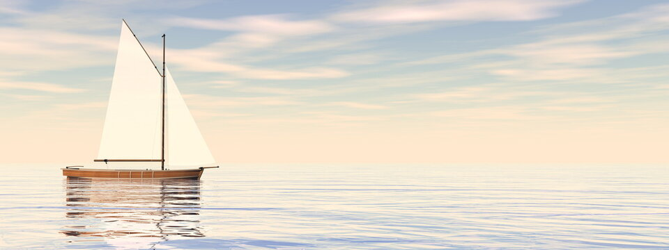 Small sailing boat on the ocean by sunset - 3D render