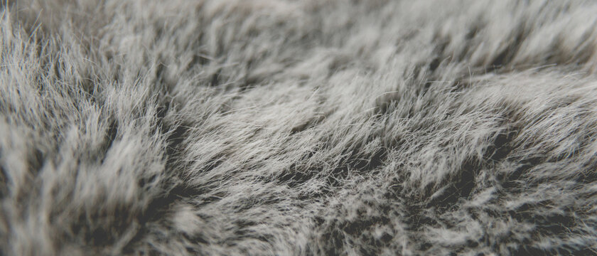 Détail d'une fausse fourrure grise texture d'arrière plan en bannière