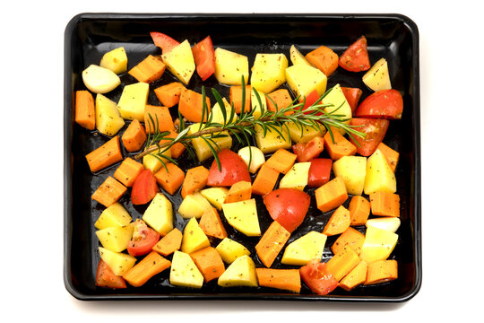 Raw Potatoes, carrots and tomatoes