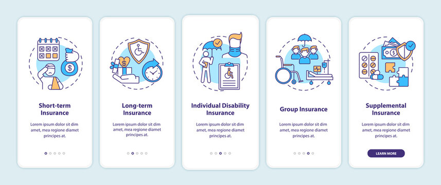 Disability insurance types onboarding mobile app page screen with concepts. Short term insurance walkthrough 5 steps graphic instructions. UI vector template with RGB color illustrations