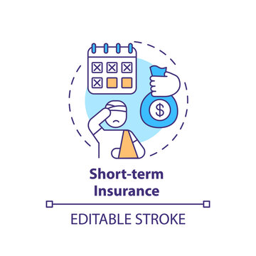 Short term insurance concept icon. Disability insurance types. Health injury during working process idea thin line illustration. Vector isolated outline RGB color drawing. Editable stroke