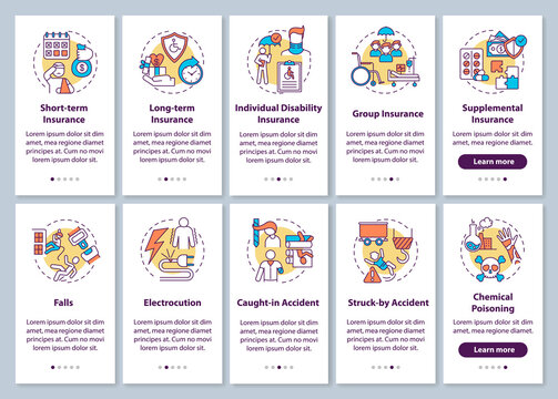 Disability insurance onboarding mobile app page screen with concepts set. Long and short term insurance walkthrough 10 steps graphic instructions. UI vector template with RGB color illustrations