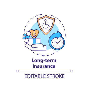 Long term insurance concept icon. Disability insurance types. Medical compensation after job accident idea thin line illustration. Vector isolated outline RGB color drawing. Editable stroke