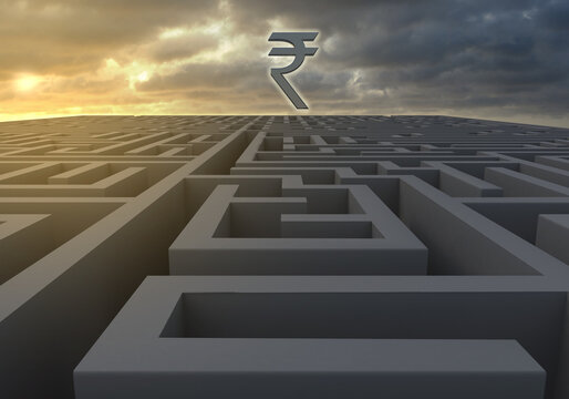 Maze at dusk with Indian Rupee symbol on a gloomy dusk as 3d rendering. A maze at dusk with Indian Rupee symbol and a gloomy sky indicating turbulent and uncertain financial times ahead as 3d renderin
