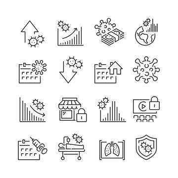 Coronavirus related icons. Editable stroke. Thin vector icon set