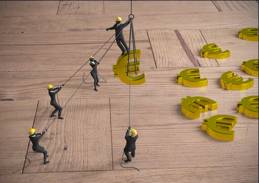 Mining and working for Euros teamwork of miniature people as 3d rendering.