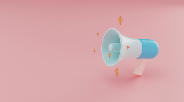 Megaphone with copy space 3d background. 3d rendering.