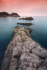 Sunset in Cala S'Alguer. Costa Brava. Girona Spain
