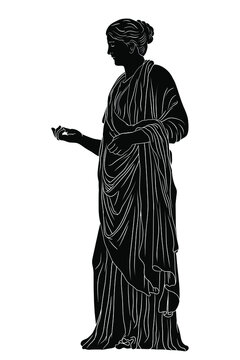 An ancient Greek young woman in a tunic and cape stands looks away and gestures. Black silhouette isolated on white background.