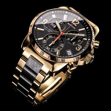 Golden luxury dial wristwatch 3D