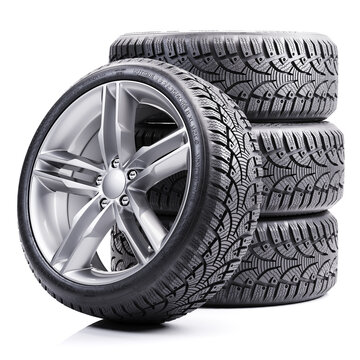 Group of car winter tires 3D