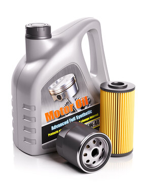 Motor oil can and automobile filters