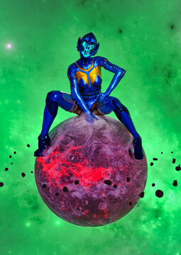 3D Photo of a Gigantic Woman in a Futuristic Suit Sitting on a Planet