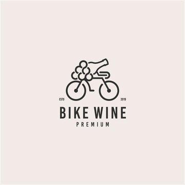 wine bicycle logo / grape vector