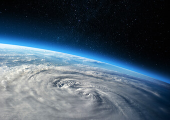 Earth and Hurricane. Elements of this image furnished by NASA.