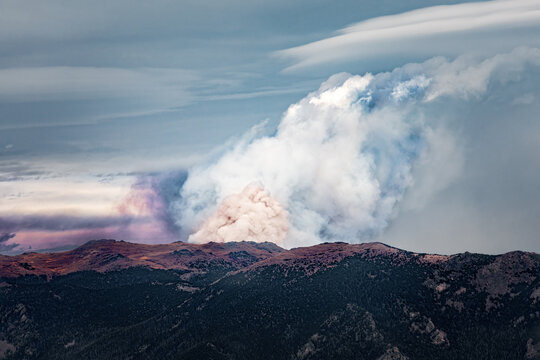 Wildfires in the Rocky Mountains, northern Colorado wildfires with huge smoke clouds