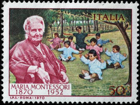 Maria Montessori on old italian postage stamp
