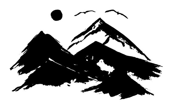 Black vector chinese ink hand drawn foggy mountains, moon and flying birds illustration. Sketchy mountain in fog landscape isolated on white background