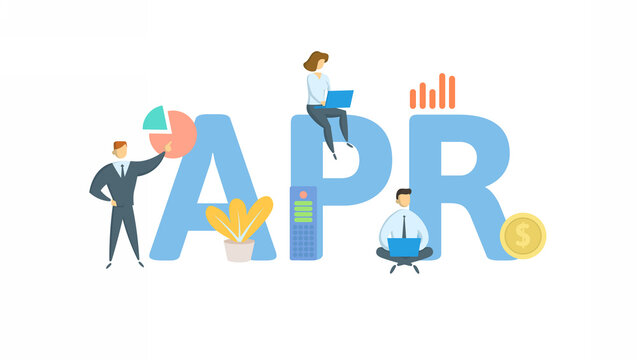 APR, Annual Percentage Rate. Concept with keyword, people and icons. Flat vector illustration. Isolated on white background.