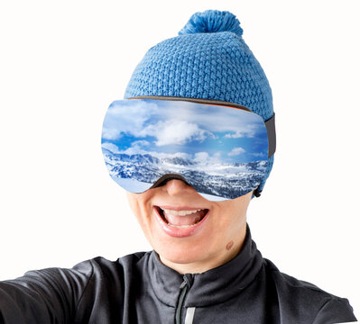 Happy skier in sunglasses. Sports active lifestyle