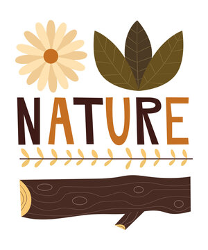 Nature Leaves Icons Mid-Century Vintage Retro Outdoors Design | Camping Hiking Autumn
